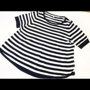 Boden Linen Blend Stripe Sweater Sz 14